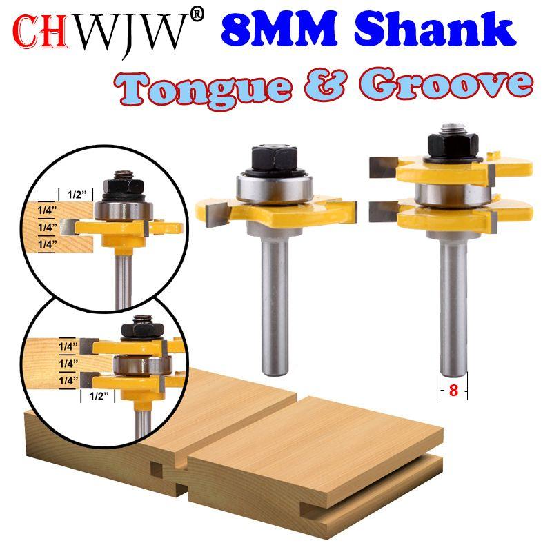 2 pc 8mm tige haute qualité langue et rainure ensemble de toupie ensemble 3/4 Stock outil de coupe de bois-Chwjw