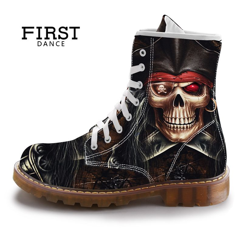 FIRST DANCE Street Fashion Mid-Calf Boots Men Martins Black Skull Shoes Cotton Spring Mens Warm Cuctom Prtined Casual Boots
