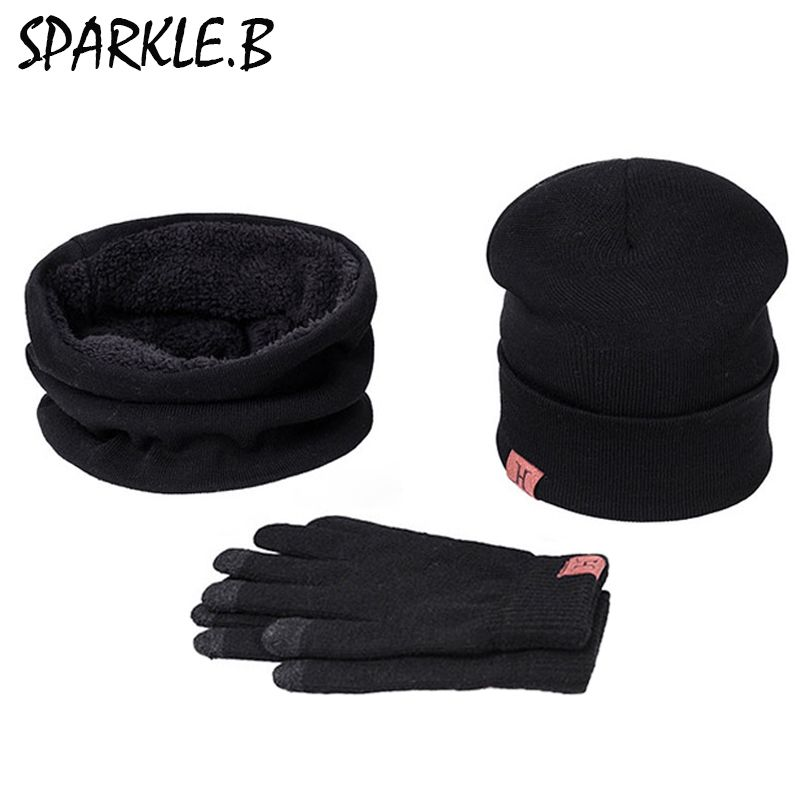 Hot Sale Men Women Winter A Set Of Hats Scarves Gloves Cotton Knitted Hat Scarf Set For Male Female Winter 3 Pieces Hat Scarf