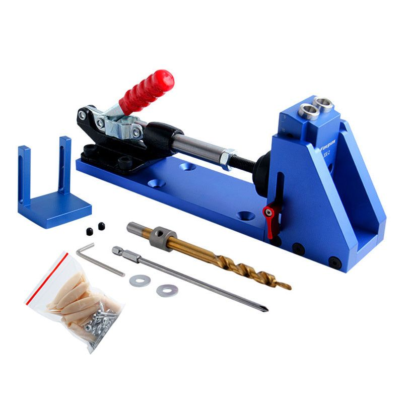 Tasche Loch Jig Kit System Mini Drill Guide Mit 9,5mm Schritt Bohrer HSS Für Holzbearbeitung Werkzeuge