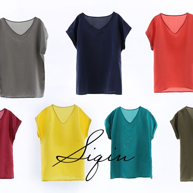 Seide Jean Ist Einfach, Licht, Luxuriöse, Elegante, Bunten Mulberry Silk Mantel, Rundhals, dünne 19mm, Seide T-shirt, Weibliche 20