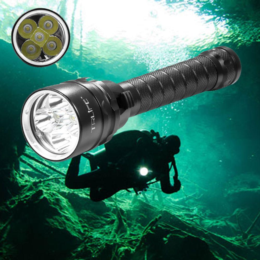 25000 Lumens plongée pour lampe de poche torche 5 * T6 plongée sous-marine 200 M étanche tactique lampes de poche LED lampe lanterne
