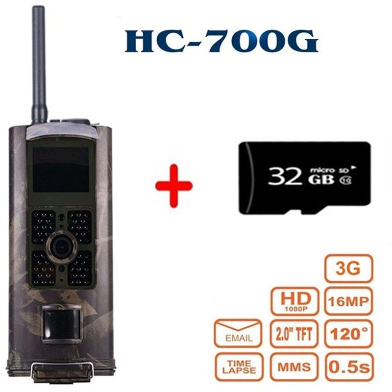 HC-700G 3G Hunting Camera Waterproof 120 Degrees Wide Angle Hunting Video Monitoring Camcorder Wildlife Trail Observing Camera
