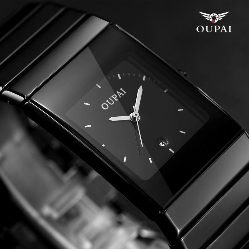 OUPAI Negro Cerámica reloj de negocios erkek kol saati mens relojes de primeras marcas de lujo Cuadrada Relojes con calendario relogio masculino
