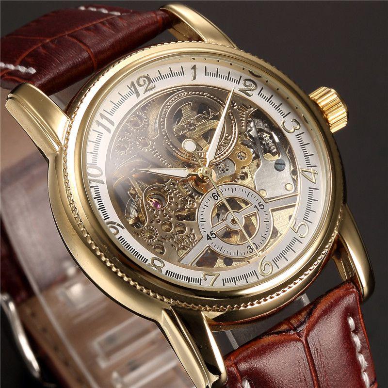 Montres homme luxe doré squelette mécanique Steampunk homme horloge automatique montre bracelet en cuir Herren Horloges