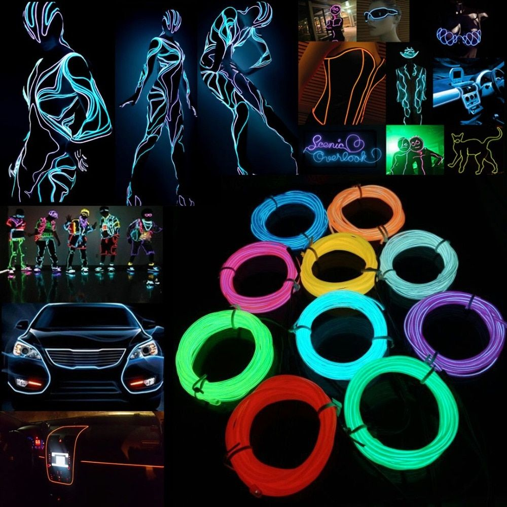 1M 2M 3M 5M  Neon Light Dance Party Decor Light Neon LED lamp Flexible EL Wire Rope Tube Waterproof LED Strip With AA Controller