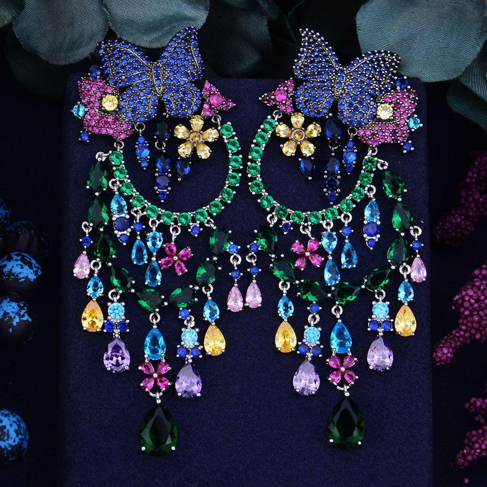 GODKI 90mm Butterfly Flower Boom Luxury Trendy Full Mirco Cubic Zirconia Naija Wedding Dress Drop Earring Fashion Jewelry