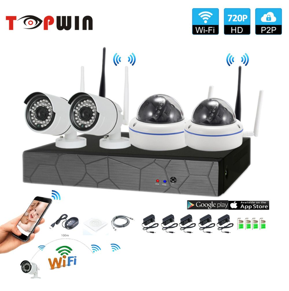 4CH CCTV System Wireless 720P NVR 4PCS 1.0MP IR Outdoor indoor P2P Wifi IP CCTV Security Camera System Surveillance Kit