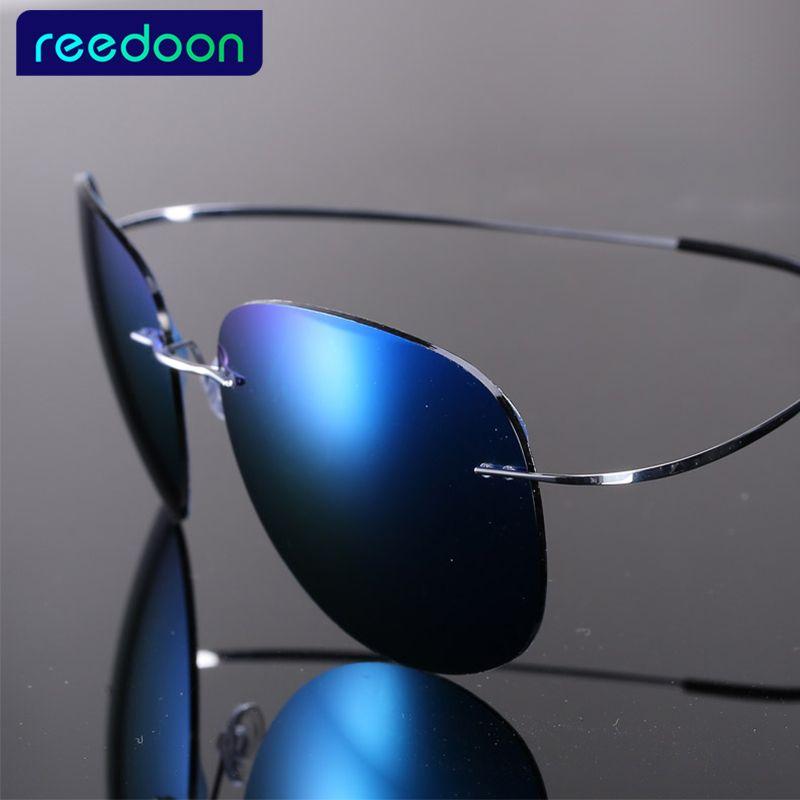 Luxury Ultra-light Flexible Pure Titanium Rimless Mirror Polarized Sunglasses Eyeglasses Eyewear Unisex Oculos de sol feminino
