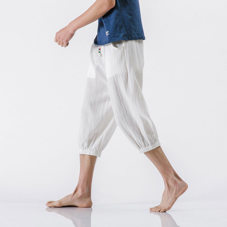 SHAN BAO brand clothing linen casual pants 2018 summer thin comfortable breathable men's large size pants