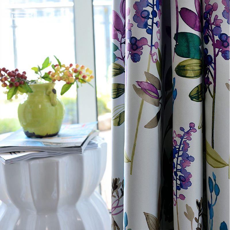 Nouvelle Arrivée Corée Frais Style Violet Fleurs Imprimé Rideau Polyester Blockout Tissu Rideau pour Salon