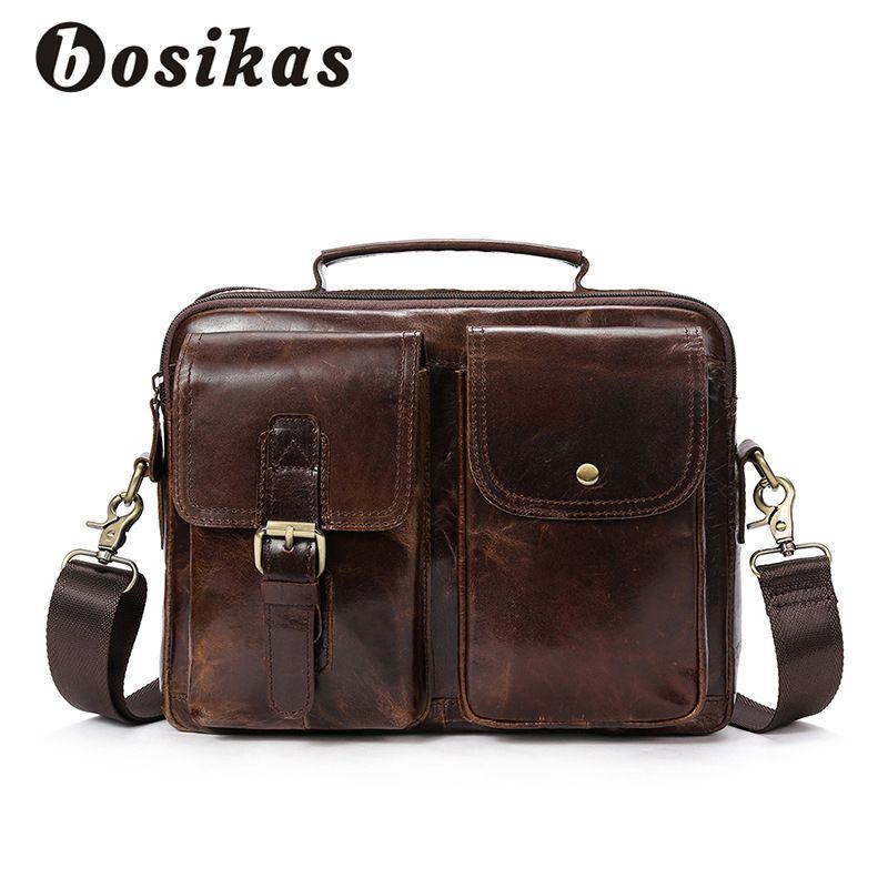 BOSIKAS Genuine Leather Men Briefcase Fashion Handbag Casual Men's Bag for Document Leather Zipper Shoulder Flap <font><b>Laptop</b></font> Bag
