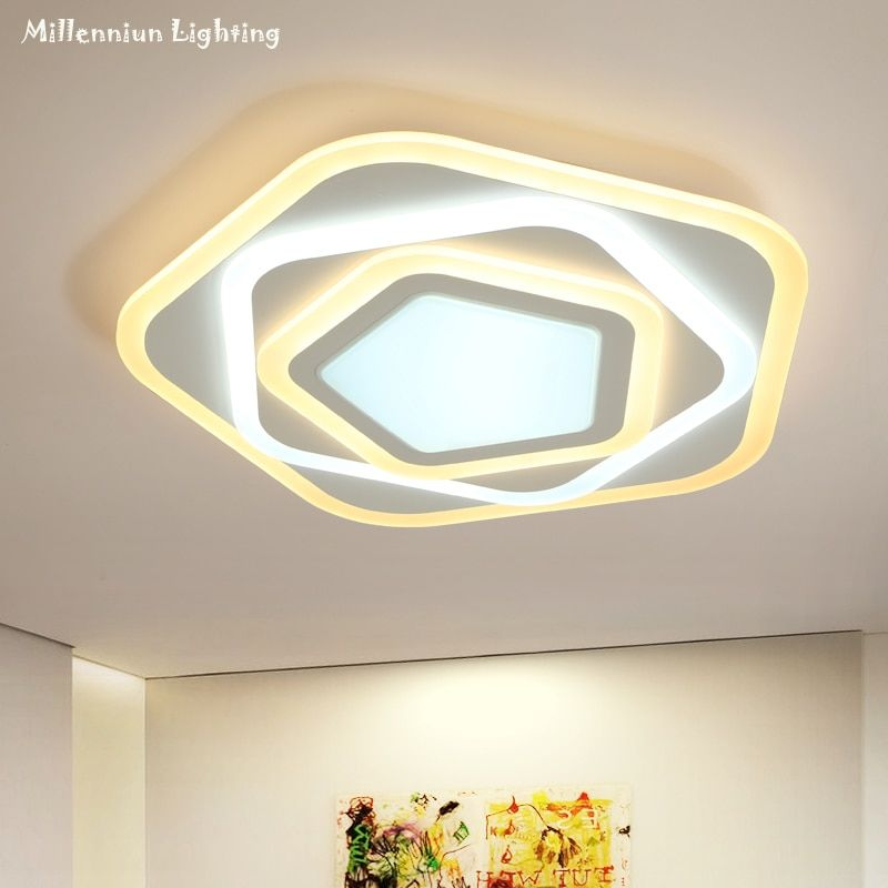 LED bedroom ceiling lighting Ultra-thin pentagonal indoor home fixtures Creative Acrylic Dining Room Lighting AC90-260V58W white