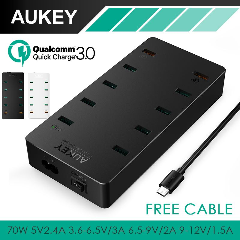 AUKEY USB Charger 70W EU Plug 10 Ports Wall charger Quick charge 3.0 Fast Phone Charger For Xiaomi mi5 iPhone Samsung Galaxy S8