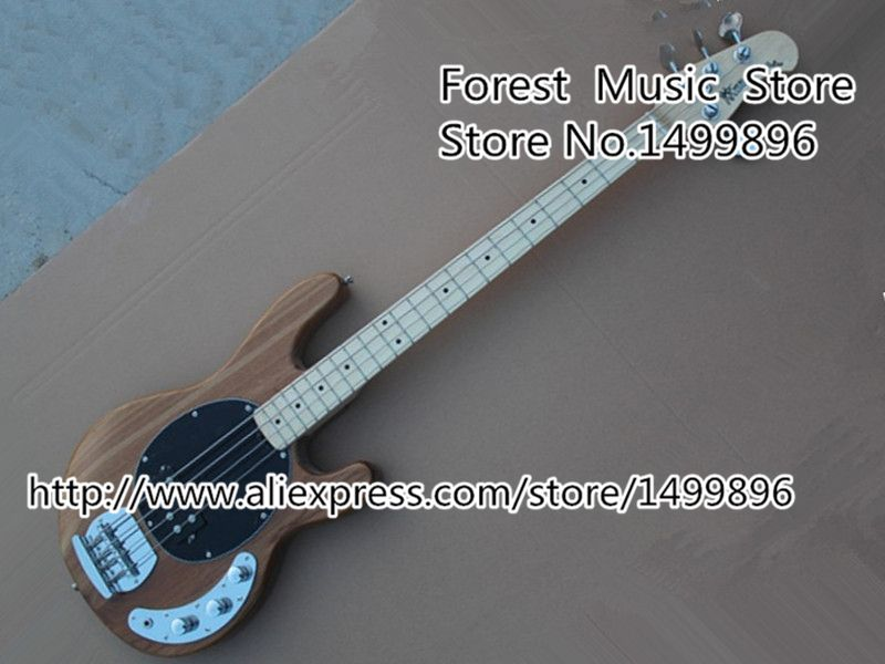 High-quality Chinese Natural Wood Music Man StingRey Bass Guitar 4 Strings Electric Bass Guitar Left Handed Custom Available