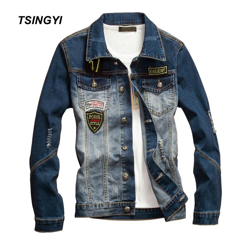 Tsingyi Whiten Distressed Hole Badge Elasticity Denim Jacket Men Slim Fit Turn-down Collar Long Sleeve Denim Bomber Mens Coats