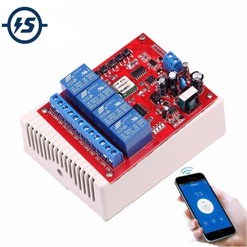 220V 4 <font><b>Channel</b></font> Wifi Relay Switch Module Phone APP Wireless Remote Control Jog Self-Lock Interlock w/Shell for Android IOS Phones
