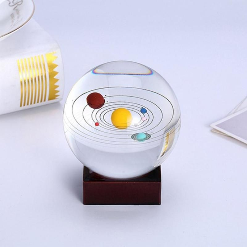 Miniature Solar System Model Planet Crystal Ball Creative Laser Engraved Ball Gifts Children Toys Home Table Decoration Craft