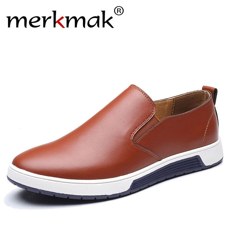 Merkmak Big Size 37-48 Autumn Men Leather Loafers Slip On Casual Shoes For Mens Moccasins Brand Italian Designer Shoes Leisure