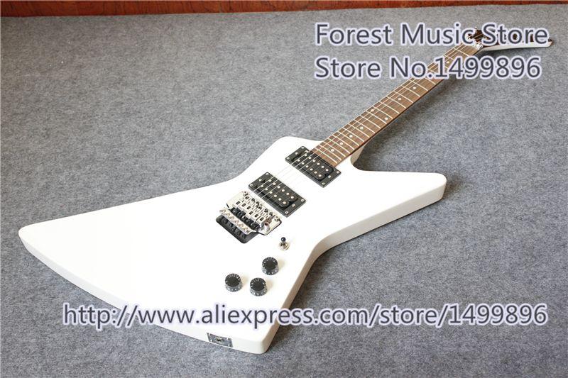 Neue ankunft china glänzend weiß finish explorer explorer elektrische guitars mit chrom floyd rose tremolo