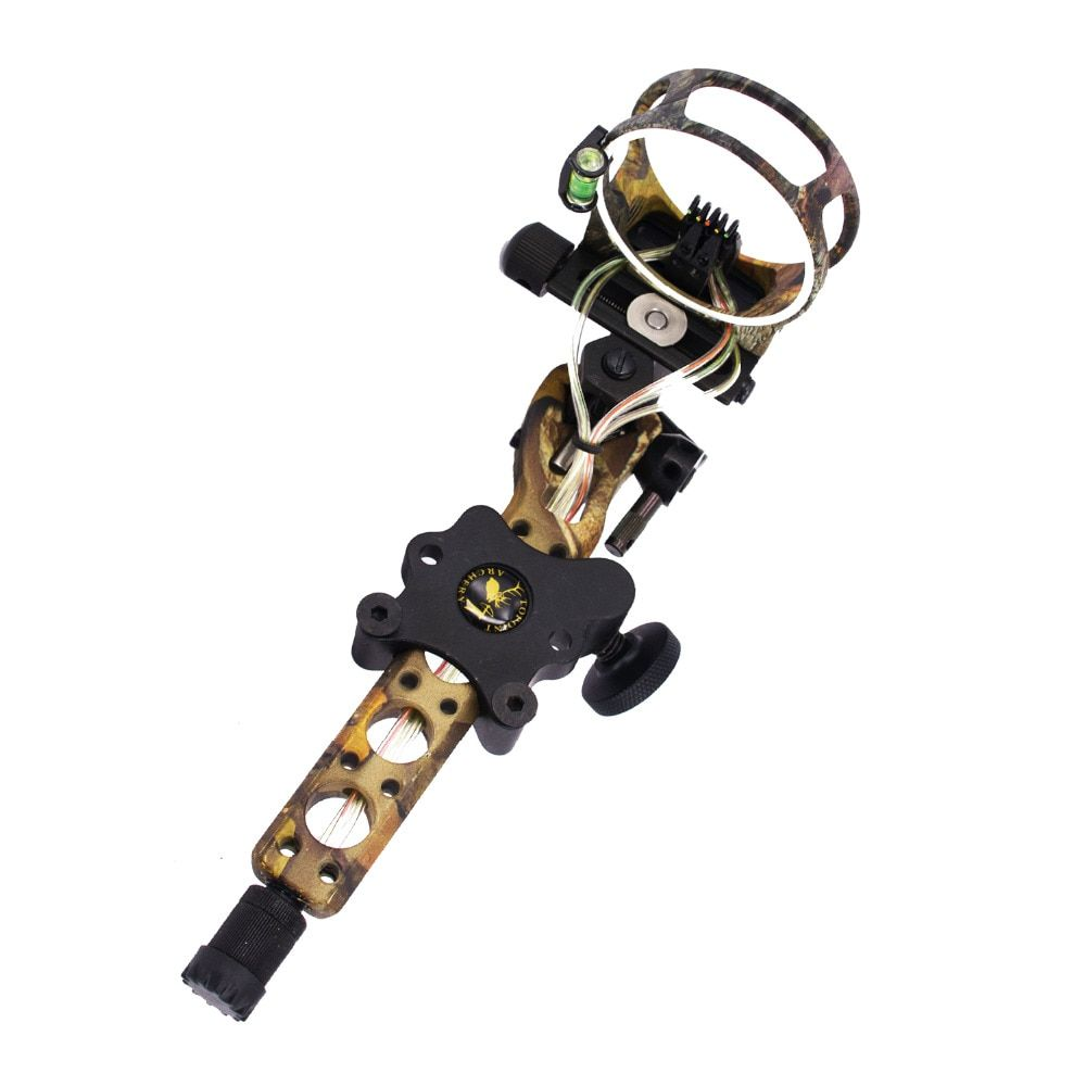 Free Shipping Compound Bow Archery 5 pins 0.019 inch Bow Sight with Micro Adjust Detachable Bracket Sight Light for Both Hand