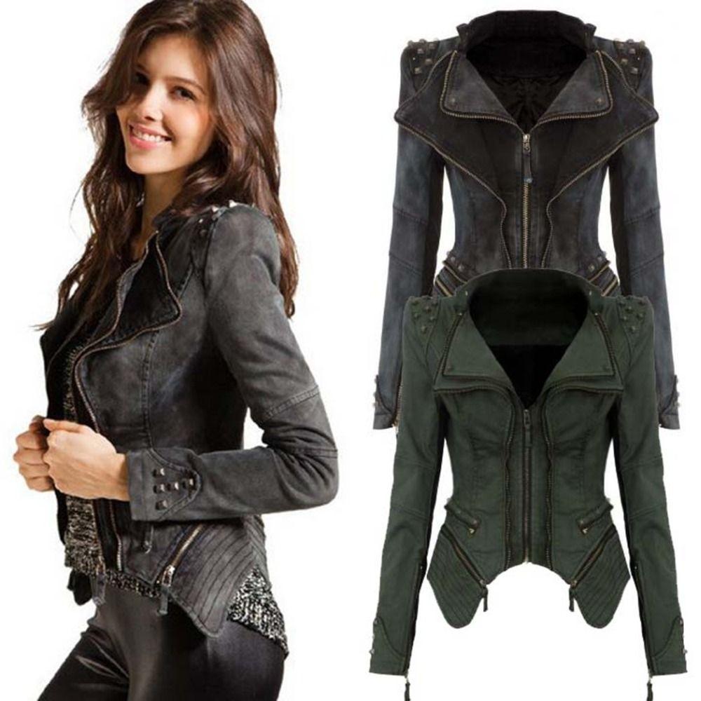 FANALA Women Denim Jacket Power Studded Shoulder Notched Lapel Plus Size Denim Jeans Jacket Tuxedo Coat Jackets Blue Black M1420
