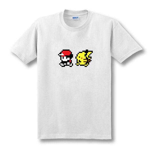 2019 Nouveau Dessin Animé Pokémon Sacha Et Pikachu T Chemises Hommes Manches Courtes Anime Hommes Vêtements Faux top T-Shirts Taille XS-XXL