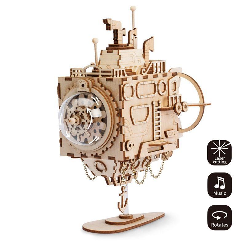 Robotime BRICOLAGE Créatif 3D Steampunk Sous-Marin En Bois Jeu de Puzzle Assemblée Boîte à Musique Jouet Cadeau pour les Enfants Adolescents Adulte AM680