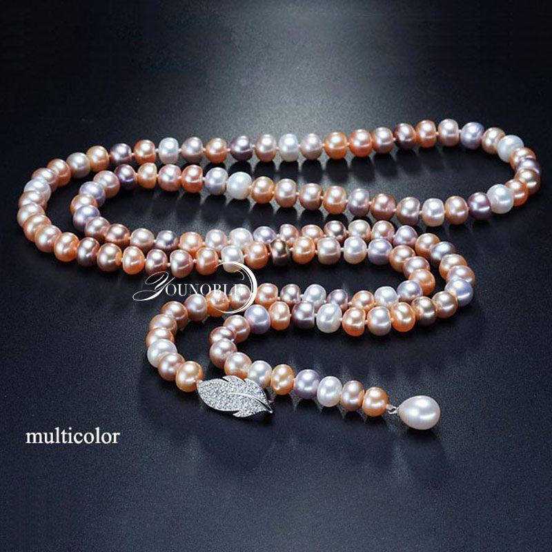 Collier de perles d'eau douce gland long femmes, véritable collier de perles de mariée naturel corps multi couche couleur pour les filles meilleur ami