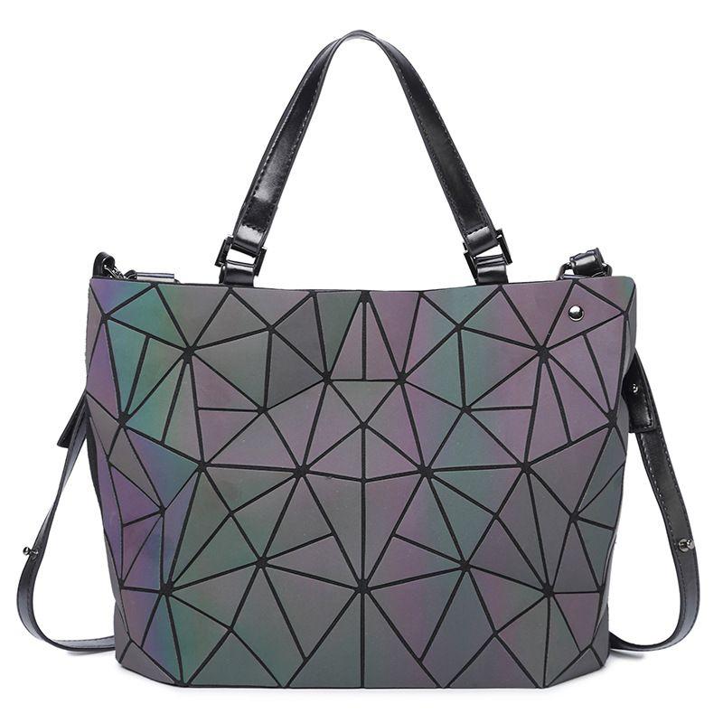 New Japan Style Women bags Luminous sac Diamond Totes Geometry Shoulder Messenger Bag Laser female Purse Handbags bolso