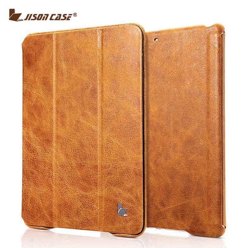 Jisoncase Vintage Smart Cover Tablet Pour iPad 9.7 2017 Véritable Cuir Flip Cas Aimant Nouveau pour iPad Air 1 Air 2 9.7 pouce