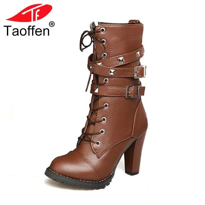 TAOFFEN Ladies shoes Women boots High heels Platform Buckle Zipper Rivets Sapatos femininos Lace up Leather boots Size 34-48
