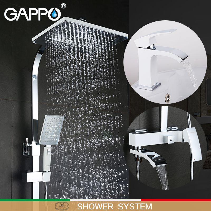 GAPPO weiß Badewanne Armaturen badewanne wasserhahn badewanne wasserhähne becken wasserhahn becken mixer wasserhähne robinet baignoire dusche system