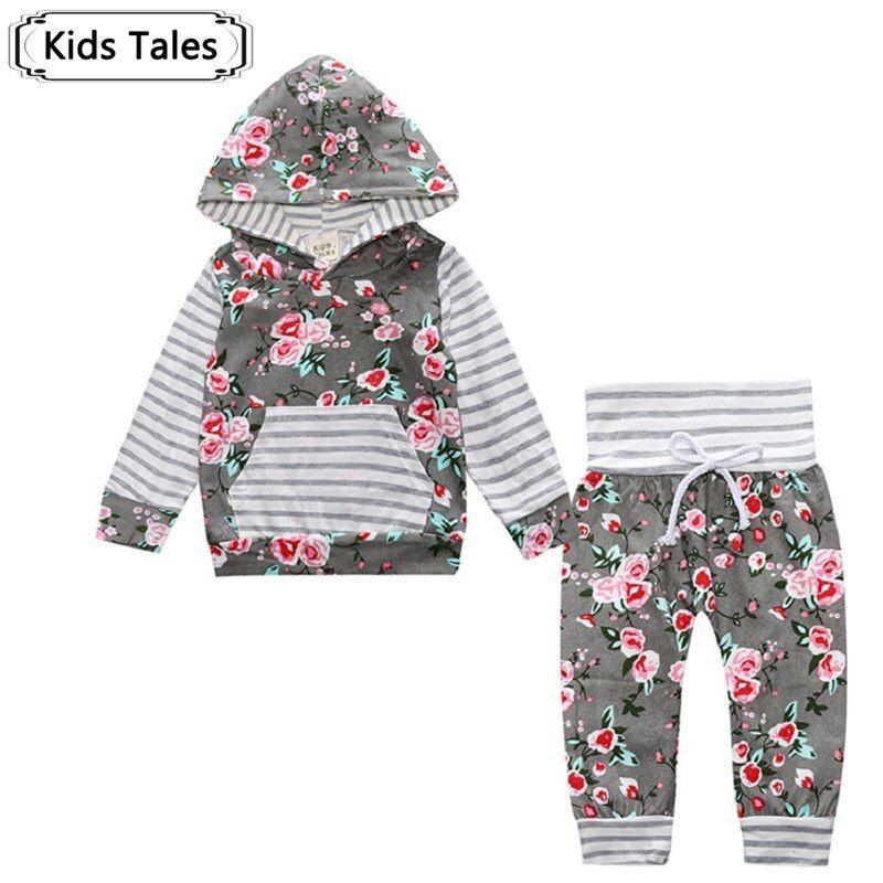 2018 Hot baby Autumn new baby boy clothes Children Baby Girls Long Sleeve Hooded Tops Floral pants 2 pcs. clothing set SY188