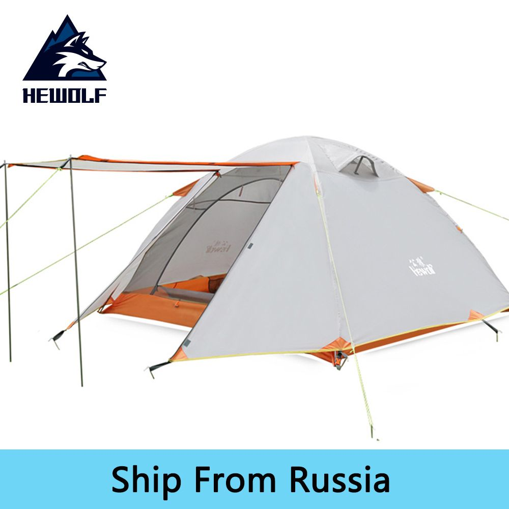 Hewolf Double Layer 3-4 Person Camping Tent Anti-UV Waterproof Outdoor Hunting Fishing Picnic Hiking Tourist Tents For Family