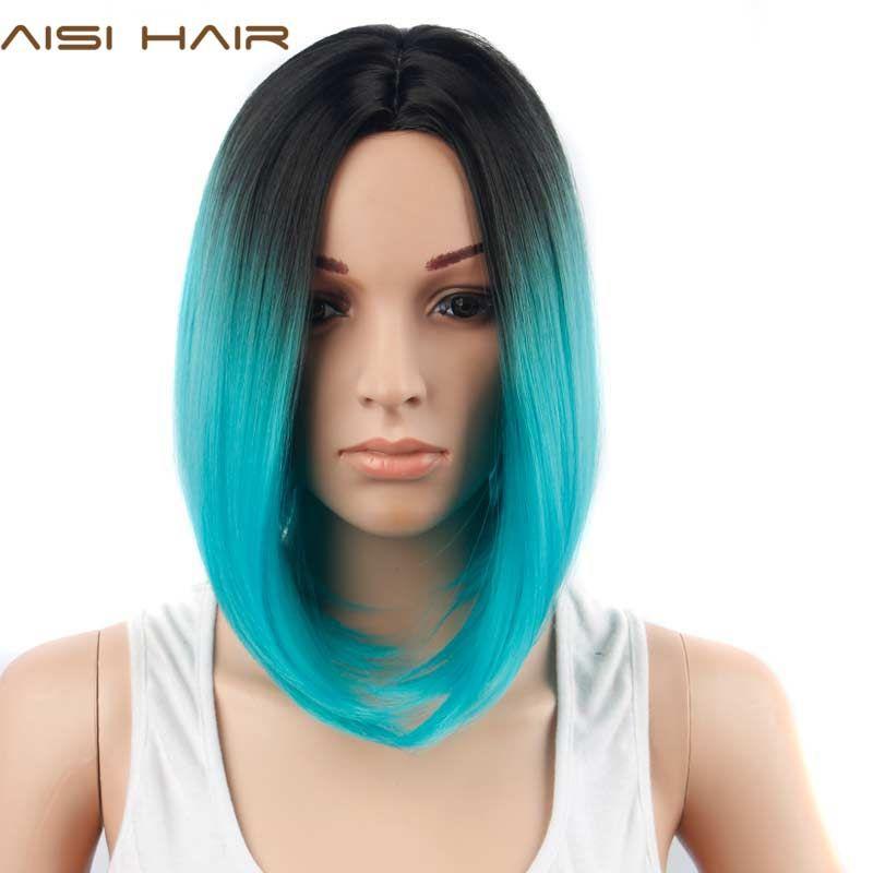 AISI CHEVEUX Ombre Bleu Perruque Synthétique Cheveux Perruques Courtes pour les Femmes Noires Bob Cheveux Raides
