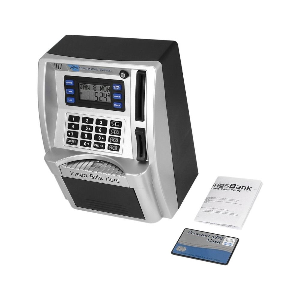 ABS ATM Savings Bank Toys Kids Talking ATM Savings Bank Insert Bills Perfect for Kids Gift Own Personal Cash Point Drop Shipping
