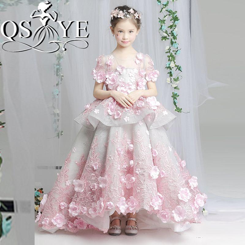 2018 Rose Vintage Arabe Princesse Fleur Fille Robes pour le Mariage robe de Bal 3D Floral Fleurs Dentelle Fille Communion Robe