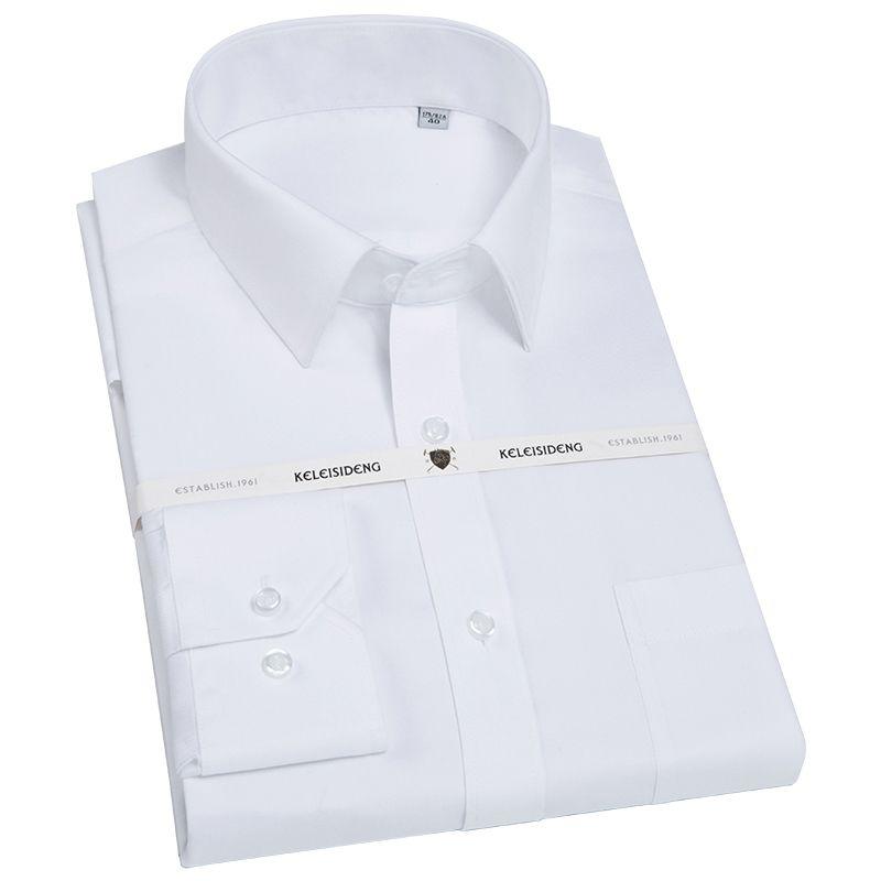 Prima de los hombres Sólido Camisa de Vestir de Manga Larga con Bolsillo En El Pecho de Alta Calidad Slim-fit Tops Trabajo de Negocios Formal Masculino Camisas de oficina