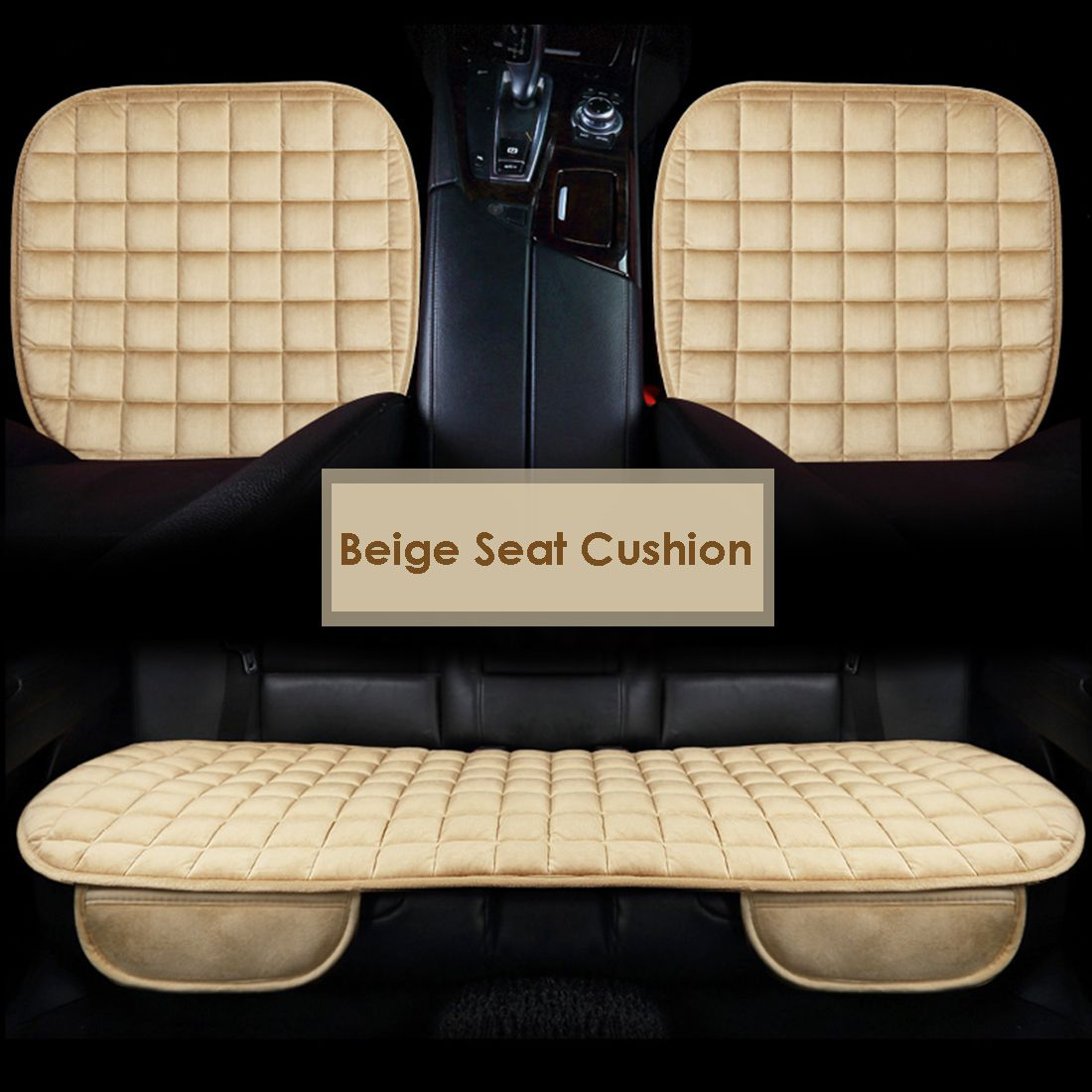 Dewtreetali Winter Velvet Car Seat Cover Set Front Driver Chair Protector Breathable Warm Pad Car Seat Cushion Black Coffee