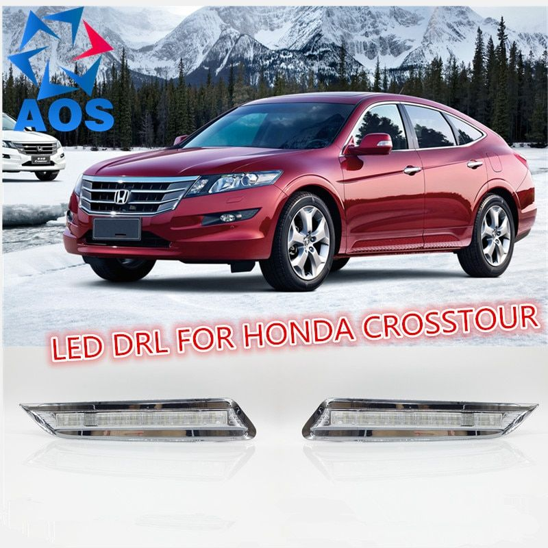 2PCs/set LED Daylight waterproof LED DRL Daytime Running Lights for Honda Crosstour 2012 2013 with fog lamp