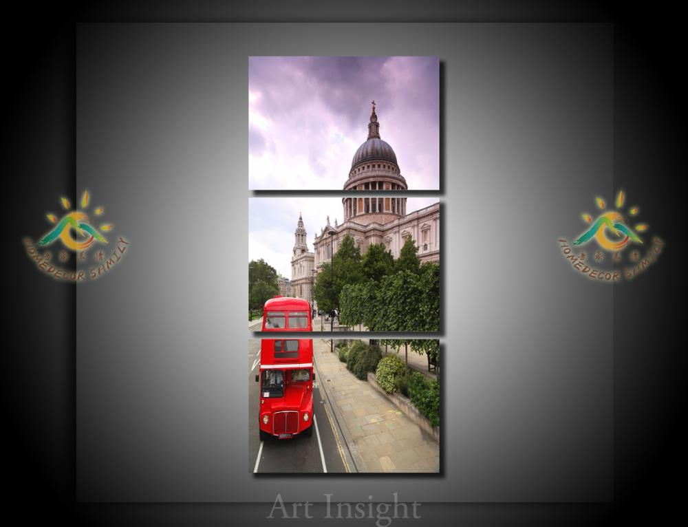 3 Pieces/set Red Bus Wall Art Pictures Printed Canvas Painting Modern Wall Pictures Home Decoration for Living Room