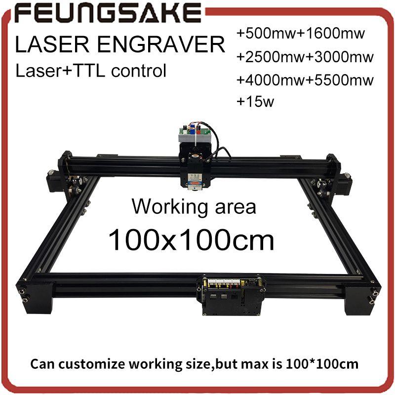 15w laser with TTL control 1*1m big area 5500mw DIY laser engraving machine, 2500mw diy marking machine,1600mw laser engraver