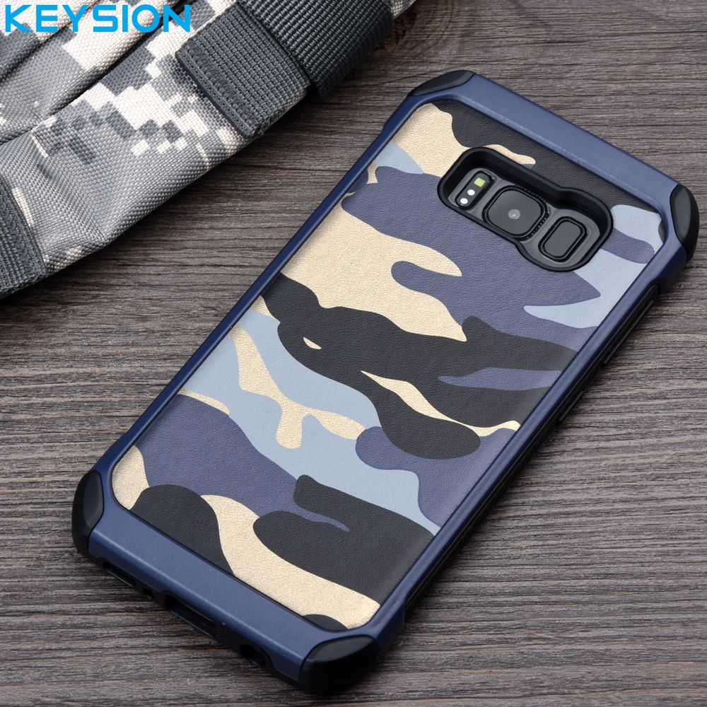 KEYSION Case for Samsung Galaxy S8 S8 Plus G950 G955 Army Camo Camouflage Pattern PC+TPU 2 in1 Anti-knock Protective Back Cover