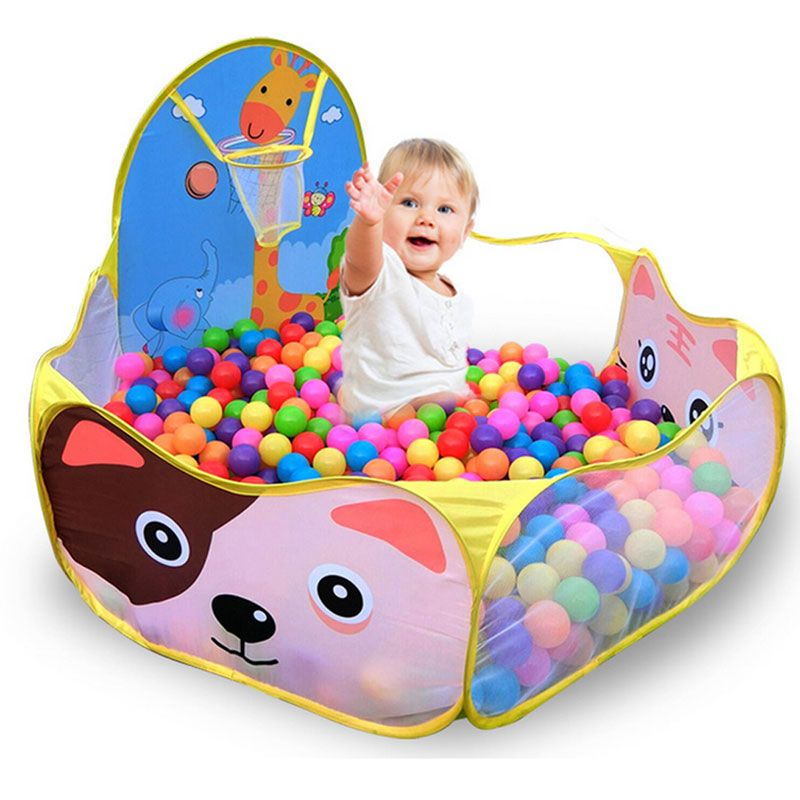 120*120cm Foldable Cute <font><b>Kids</b></font> Game Play Toys Tent Ocean Ball Pool With Basket <font><b>Kids</b></font> Outdoor House Play Hut Pool Balls Toys Pit