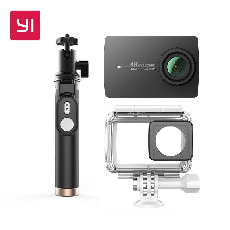 YI 4K Action Camera Bundle With Waterproof case and Selife Stick 2.19