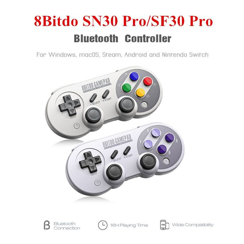 8Bitdo SF30 Pro/SN30 Pro Bluetooth Gamepad Wireless Game Controller with Joystick for Windows Android Steam Nintendo Switch