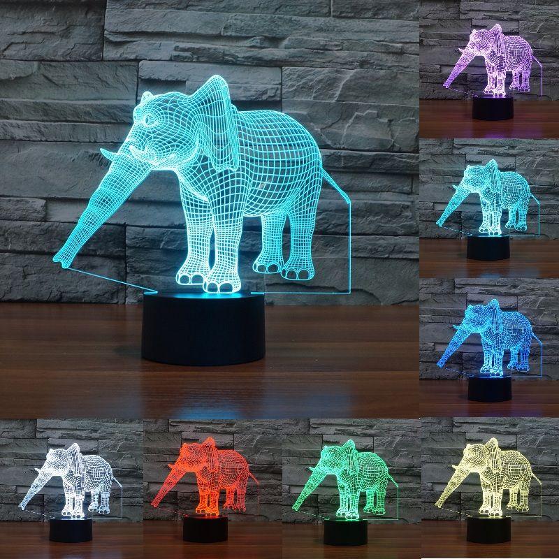 Creativo 3D luz de la noche del elefante 7 cambio de color acrílico lámpara de mesa LED luz USB dormitorio como regalo para DecorationIY803454