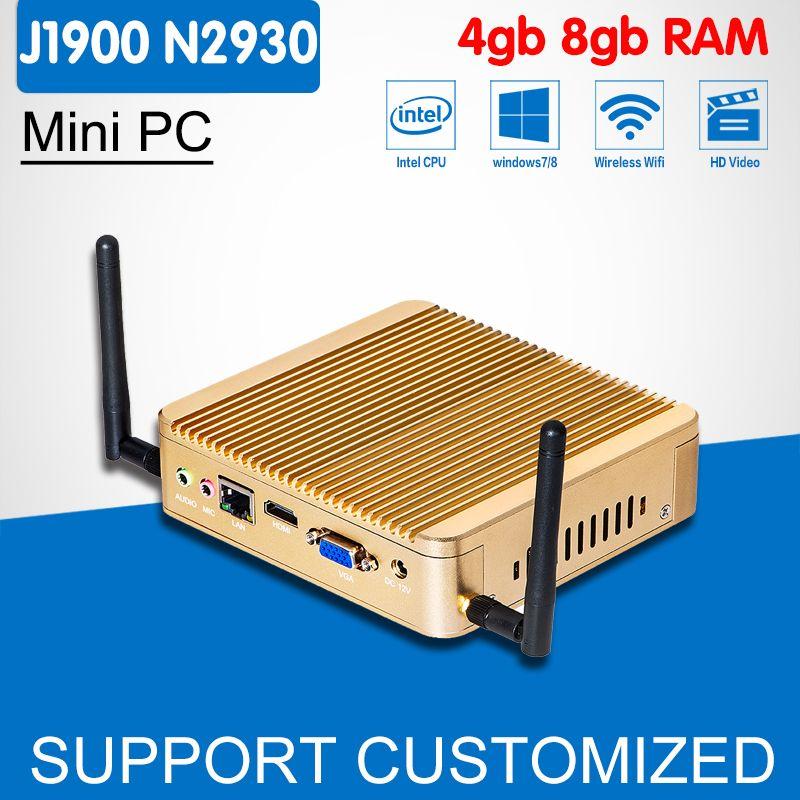 Jeu Ordinateur J1900 N2930 N2940 VGA Windows 10 Mini PC Mallette pour ordinateur portable DDR3 8G RAM SSD En Option Mini Ordinateur Mini de bureau