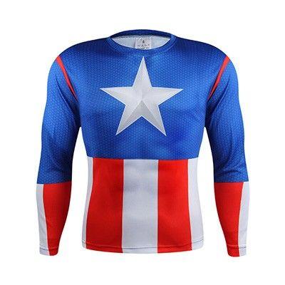 2016 3D Marvel Comics Super Heroes Капитан Америка паук Супермен Бэтмен Железный человек с длинным рукавом Футболка; одежда костюм Tee